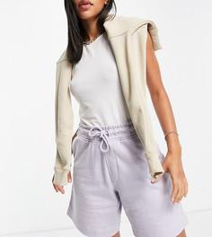 Сиреневые трикотажные шорты из органического хлопка в стиле унисекс от комплекта Selected Exclusive-Фиолетовый цвет