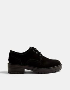 Черные лоферы на шнуровке Topshop-Черный цвет