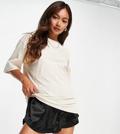 Эксклюзивная oversized-футболка песочного цвета в стиле унисекс из органического хлопка Selected-Светло-бежевый цвет