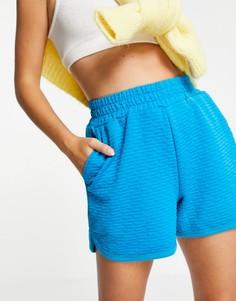 Синие шорты в стиле casual из фактурной ткани с окантовкой Selected Femme-Голубой