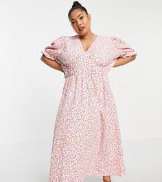 Розовое чайное платье миди с цветочным принтом и V-образным вырезом Only Curve-Розовый цвет
