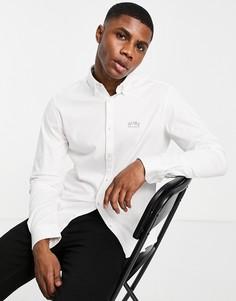 Белая рубашка с логотипом на груди BOSS Athleisure Biado-Белый