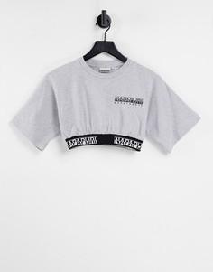 Укороченная футболка светло-серого цвета Napapijri Box-Серый