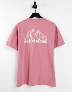 Розовая футболка с принтом на спине Napapijri Saretine-Розовый цвет