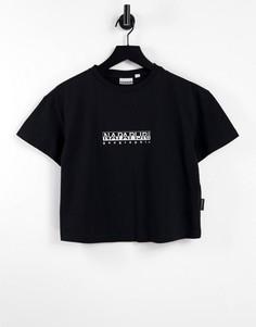Черная укороченная футболка Napapijri Box-Черный цвет