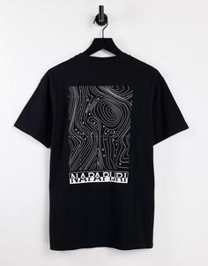 Черная футболка с графическим принтом на спине Napapijri Latemar-Черный цвет