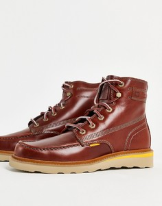 Коричневые кожаные ботинки на шнуровке CAT Jackson-Коричневый цвет Caterpillar