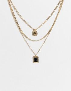 Золотистое ожерелье в несколько рядов с подвеской с черной вставкой Topshop-Черный цвет