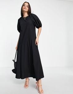 Черное свободное платье миди с юбкой годе ASOS DESIGN-Черный цвет