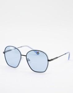 Большие солнцезащитные очки с круглыми линзами Polaroid-Голубой