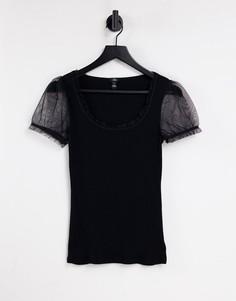 Черная футболка с сетчатыми рукавами River Island-Черный цвет
