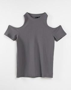 Серая зауженная фактурная футболка с вырезами на рукавах ASOS DESIGN-Серый