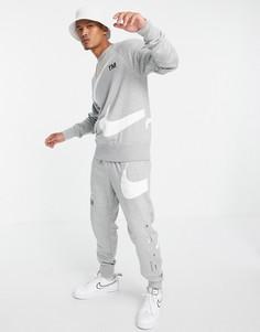 Серые флисовые джоггеры с логотипом-галочкой Nike Swoosh-Серый