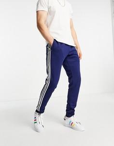 Темно-синие джоггеры с тремя полосками adidas Originals adicolor-Темно-синий