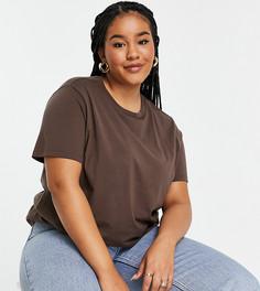 Коричневая футболка с круглым вырезом ASOS DESIGN Curve-Коричневый цвет