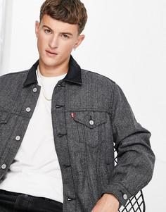 Свободная серая куртка в винтажном стиле в «елочку» с подкладкой Levis-Серый