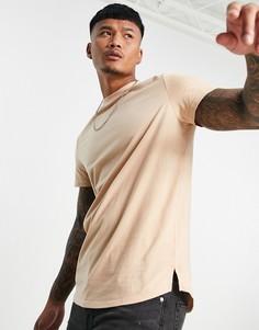 Бежевая длинная футболка с разрезами по бокам ASOS DESIGN-Светло-бежевый цвет