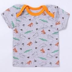 """Футболка Котмаркот """"Croc&Tiger"""" для мальчика, оранжево-серая Mjolk"""