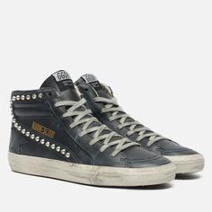 Мужские кроссовки Golden Goose Slide Classic Leather Studs, цвет чёрный, размер 42 EU