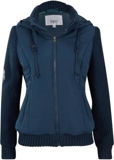 Куртка с вязаными рукавами и капюшоном Bonprix