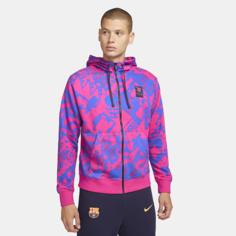 Мужская футбольная худи с молнией во всю длину FC Barcelona - Розовый Nike
