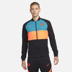 Мужская футбольная куртка с молнией во всю длину Chelsea FC - Черный Nike