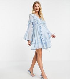 Голубое платье мини с пуговицами спереди, кружевной отделкой и оборками ASOS DESIGN Maternity-Голубой