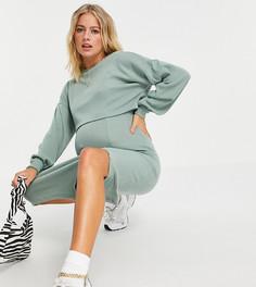 Очень мягкое платье-джемпер миди цвета хаки в рубчик с напуском и длинными рукавами ASOS DESIGN Maternity-Зеленый цвет