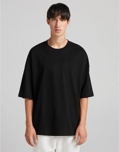 Свободная черная футболка Bershka-Черный цвет