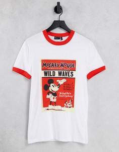 """Белая облегающая футболка с принтом """"Disney Микки Маус"""" ASOS DESIGN-Белый"""