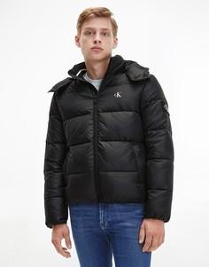 Черный базовый пуховик с логотипом Calvin Klein Jeans-Черный цвет