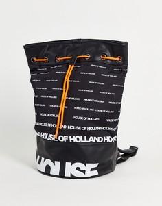 Черная сумка-дафл с логотипом House of Holland-Черный цвет