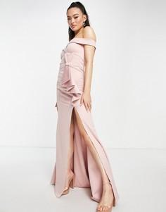 Розовое атласное платье макси с открытыми плечами Goddiva-Розовый цвет