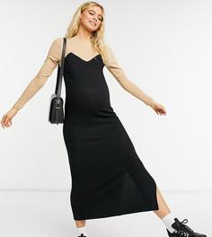 Черное мягкое платье-джемпер миди с контрастными длинными рукавами бежевого цвета ASOS DESIGN Maternity-Бежевый