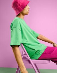 Ярко-зеленая свободная oversized-футболка ASOS DESIGN-Зеленый цвет