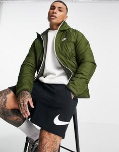Двусторонняя утепленная куртка цвета хаки с капюшоном Nike Legacy Therma-FIT-Зеленый цвет