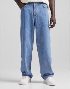 Голубые свободные джинсы в стиле 90-х Bershka-Голубой
