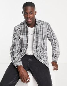 Рубашка навыпуск в черно-белую клетку с застежкой на пуговицах Topman-Черный цвет