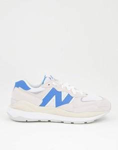 Замшевые кроссовки кремового и синего цвета New Balance 54/70-Белый