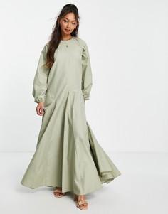 Платье макси цвета хаки с юбкой годе ASOS DESIGN-Зеленый цвет