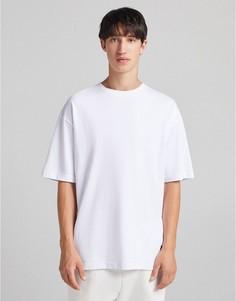 Свободная белая футболка Bershka-Белый