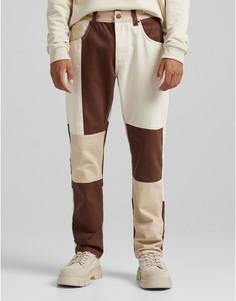 Коричневые свободные джинсы в стиле пэчворк в стиле 90-х Bershka-Коричневый цвет