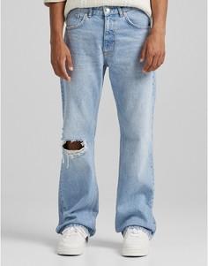 Расклешенные джинсы голубого цвета Bershka-Голубой