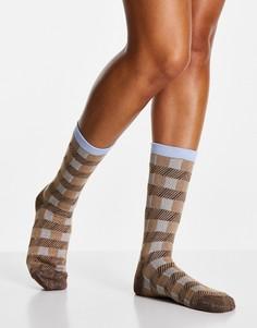 Носки в коричневую и синюю клетку Selected Femme-Разноцветный