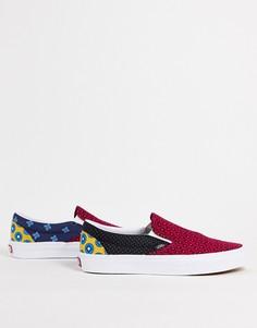 Разноцветные кроссовки-слипоны Vans Slip-On Tie Print Mix-Разноцветный