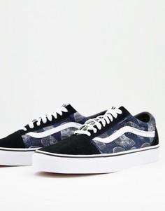 Черные кроссовки с черепами Vans Old Skool Wireframe Skulls-Черный цвет