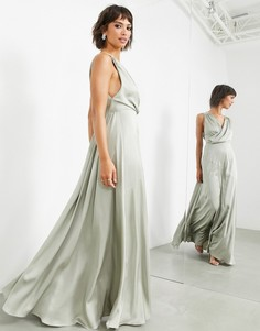 Атласное платье макси шалфейно-зеленого цвета с запахом на лифе ASOS EDITION-Зеленый цвет