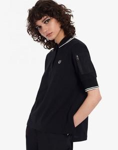 Черная футболка из пике с карманом Fred Perry-Черный цвет