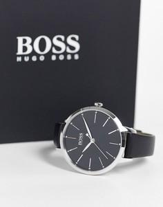 Женские часы с черным кожаным ремешком Boss-Черный цвет