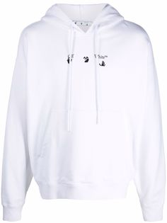 Off-White худи с кулиской и логотипом